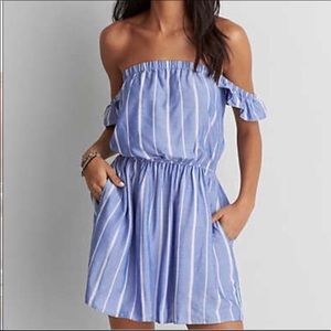 off the shoulder summer mini dress blue striped